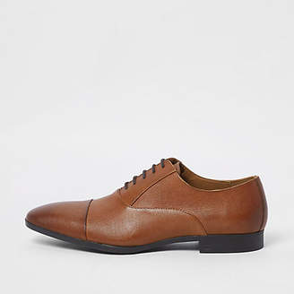 River Island Brown leather toe cap Oxford shoes