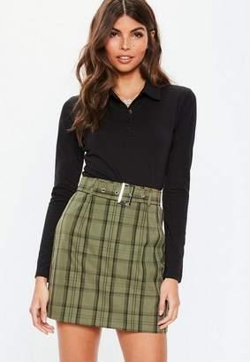 Missguided Khaki Plaid Belted Mini Skirt