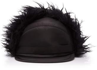 Prada Mohair Blend-Trimmed Shell Cap Size: L