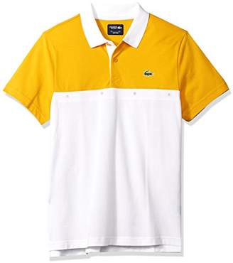 Lacoste Men's Short Sleeve Super Light with Colorblock Eyelets Polo