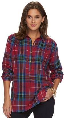 Women's Chaps Plaid Button-Down Shirt $60 thestylecure.com