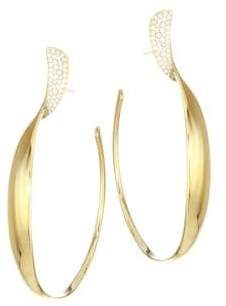 Ippolita Stardust 18K Yellow Gold& Diamond Pave Twisted Ribbon Hoop Earrings