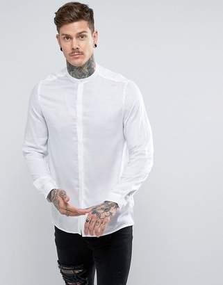 Asos Regular Fit Sheer Shirt With Grandad Collar