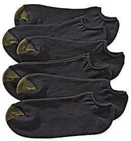 Gold Toe Men's Black Extended Size 6-Pack No Show Athletic Socks