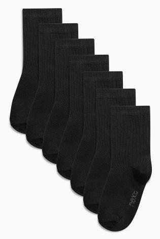 Boys Black School Socks Seven Pack (Older Boys) - Black