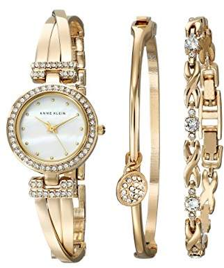 Anne Klein Women's AK/1868GBST Swarovski Crystal-Accented -Tone Bangle Watch and Bracelet Set