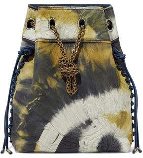 Jerome Dreyfuss Suede-Trimmed Printed Crinkled-Leather Bucket Bag