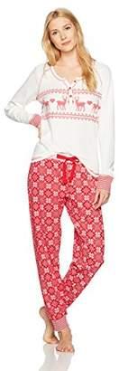 Mae Women's Vintage Thermal Loose Fit Long Sleeve Henley Sleep Set