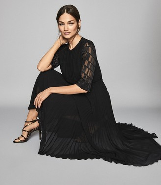 Reiss PAOLO SHORT SLEEVE JACQUARD PLEAT DRESS Black