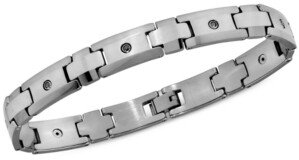 Macy's Men's Black Diamond (1/4 ct. t.w.) Bracelet in Tungsten