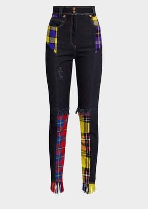 Versace Tartan Print Jeans