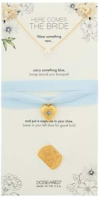 Dogeared Here Comes the Bride, Small Pearl Necklace, Something Blue Bouquet Wrap, and Sixpence Coin Necklace
