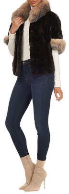 Gorski 1/2-Sleeve Fox-Fur Trimmed Mink Section Jacket