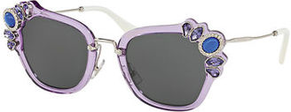 Miu Miu Monochromatic Embellished Square Sunglasses $500 thestylecure.com