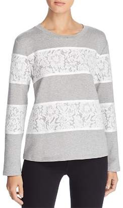 Karl Lagerfeld Paris Lace-Stripe Sweatshirt