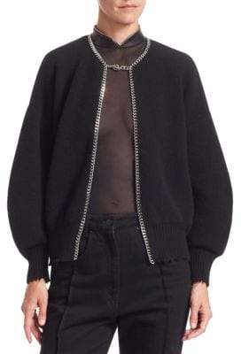Alexander Wang Women's Chain Plack Split Back Cardigan - Black - Size Medium