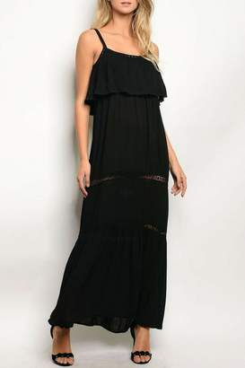 Solemio Black Ruffle Dress