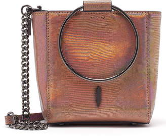 THACKER Mini Le Bucket Embossed Leather Ring Handle Bag