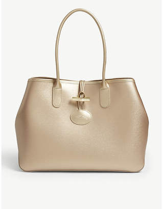 Longchamp Pink and Gold Roseau Metallic Leather Shoulder Tote Bag