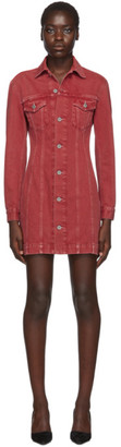 Helmut Lang Red Denim Femme Trucker Dress