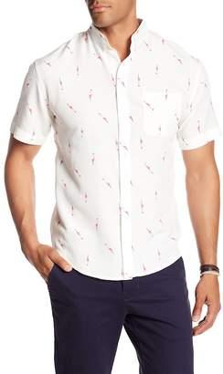 LOFT 604 Short Sleeve Flamingo Print Regular Fit Woven Shirt