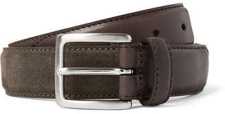 Andersons Anderson's - 3cm Suede and Leather Belt - Army green