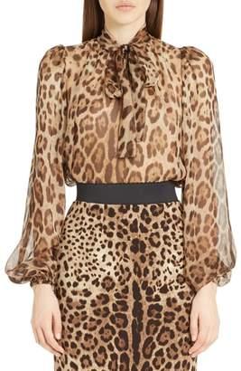 Dolce & Gabbana Leopard Print Silk Tie Neck Blouse