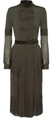 Belstaff Suede-Trimmed Pleated Silk-Voile And Jersey Dress