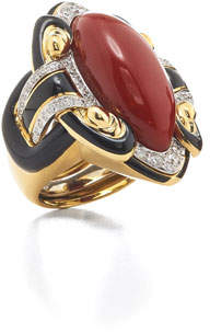David Webb 18k Coral Couture Scroll Ring w/ Diamonds, Size 6.25