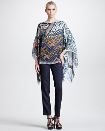 Etro Straight-Leg Jacquard Pants, Navy/Orange