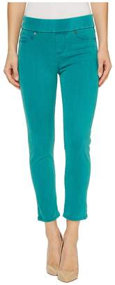 Liverpool Sienna Pull-On Rolled-Cuff Capris in Pigment Dyed Slub Stretch Twill in Fanfare Blue Women's Jeans