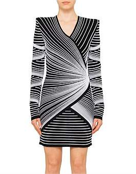Balmain Long Sleeve V Neck Wrap Mini Dress