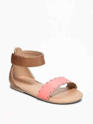 Old Navy Color-Blocked Scalloped-Strap Sandals for Toddler Girls