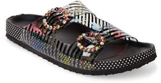 Betsey Johnson Black Misty Jeweled Footbed Sandals