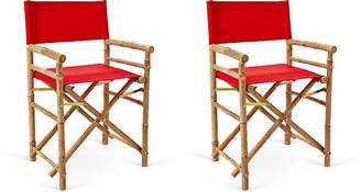One Kings Lane Set of 2 Director's Bamboo Chairs - Red