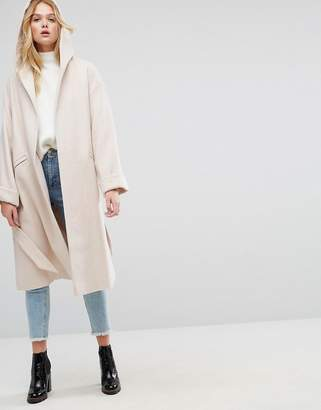 Asos DESIGN Hooded Belted Shawl Collar Coat