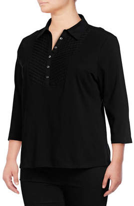 Karen Scott Plus Plus Quarter-Sleeve Cotton Blouse