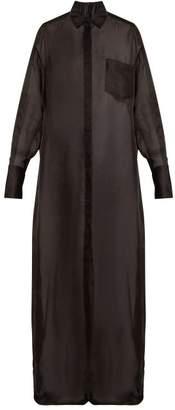 The Row Siena Oversized Silk Organza Shirt Dress - Womens - Black
