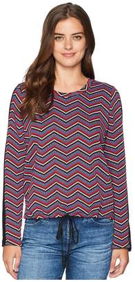 BCBGeneration Contrast Mesh Top w/ Drawstring Women's Clothing