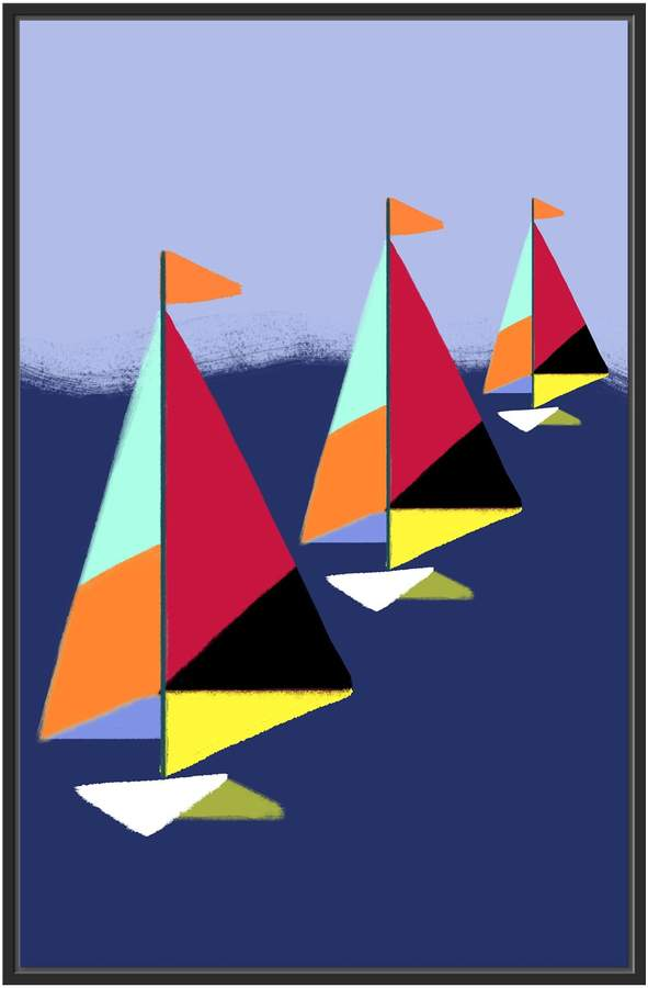Three Sailboats (Framed Giclee)