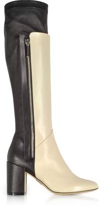 Rodo Ivory and Black Leather Heel Over The Knee Boots