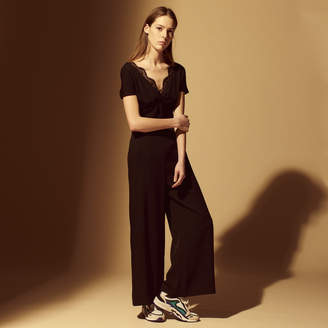 Sandro Wide-leg jumpsuit with lace detail