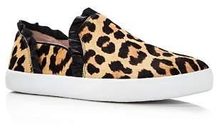 Kate Spade Women's Lilly Ruffle-Trim Leopard Print Calf Hair Slip-On Sneakers