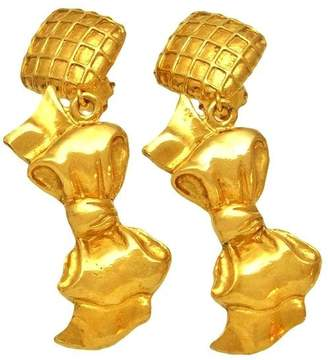 Chanel CC Logo Gold Tone Metal & Ribbon Dangle Earrings Large