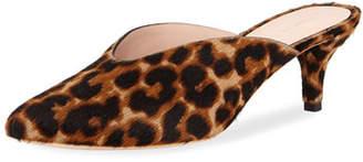 Loeffler Randall Juno Leopard Kitten-Heel Mule Slide
