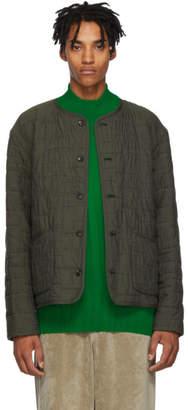 Issey Miyake Khaki Quilted Jacquard Shirt Jacket