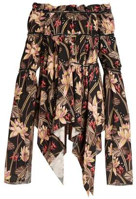 Loewe X Paulas Ibiza Floral Print Crepe Dress - Womens - Black Print