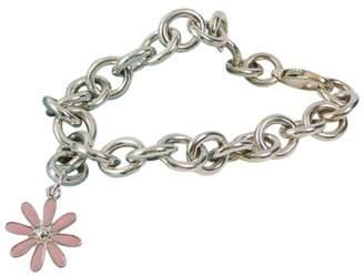 Tiffany & Co. Sterling Silver Pink Enamel Daisy Charm Donut Round Links Link Bracelet