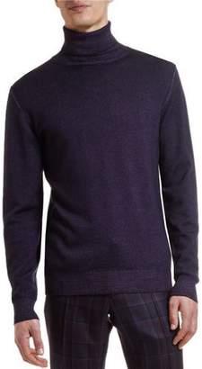 Etro Men's Garment-Dyed Wool Turtleneck Sweater