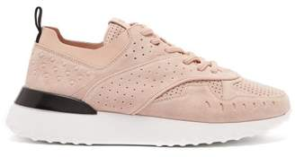 Tod's Perforated Suede Trainers - Womens - Light Pink
